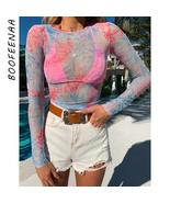 BOOFEENAA Tie Dye Mesh Sexy T Shirts Graphic Tees Women Clothes 2019 Fal... - $22.25