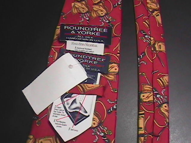 Roundtree & Yorke Neck Tie Golf Theme Red and Gold Unused with Manufacturer Tags