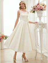 Scoop Flower Sash Sleeveless Tea Length Chiffon Wedding Reception Gown Dresses - $115.00