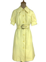 Vintage 1960s Yellow Gingham Dress Joseph Magnin De Graff Cal David Hays U4 - $74.76