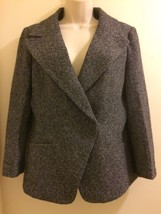 Ann Taylor Tweed Jacket Size 10 Black Long Sleeve Snap Closure Blazer Ca... - $58.04