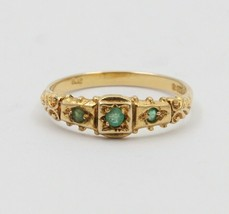 Vintage English 9K Gold and Emerald Band, Stacking Ring - $198.00