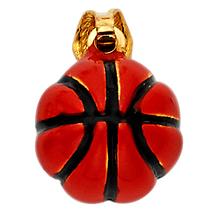 14K Yellow Gold & Enamel Basketball Pendant - $180.99