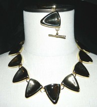 VTG Gold Tone 1980s Molded Triangle Metal Necklace & Bracelet Set Toggle... - $39.60