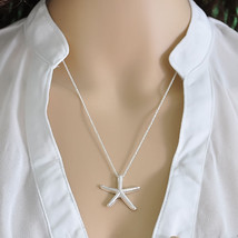 USA Silver Plated Chain Ocean Sea Star Starfish Necklace Pendant Lady Jewelry - $12.86