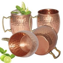 JIAQI 4pcs Moscow Mule Mug Cup Drinking Hammered Copper Brass Steel Gift... - $28.09