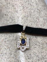 Vintage Blue And White Sapphires 925 Sterling Silver Pendant Choker Neck... - $94.05