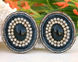 Vintage Leather Earrings Hand Beaded Rhinestones Black Blue - $19.95