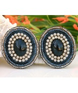 Vintage Leather Earrings Hand Beaded Rhinestone... - $19.95