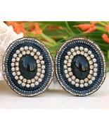 Vintage Leather Earrings Hand Beaded Rhinestones Black Blue - $19.95