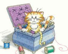 Little Sew & Sew Cat's Rule 27ct Evenweave Kit cross stitch kit Heritage Crafts