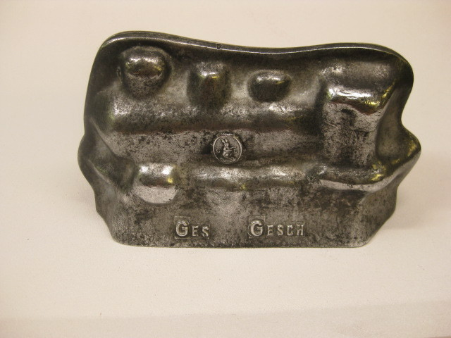 "Modernist Mid-Century Heavy Aluminum ""Ges Gesch"" Train Mold"
