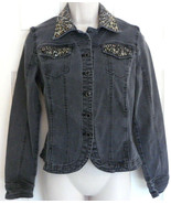 Christine Alexander Gray Denim Jean Jacket Black Stones  & Swarovski Cry... - $17.75