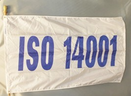 Iso 14001 3X5' Nylon Flag New White With Blue Letters Iso 14001 - $40.59