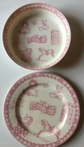 Queens Youth Pink White A Gift For A Girl Spellout Bowl And Plate Set - $24.74
