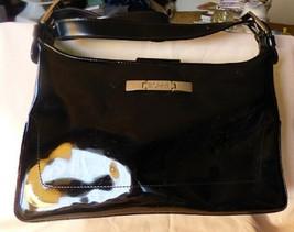 Vintage 1980s ESPRIT de Corp Black Faux Patent Leather Handbag Removable... - $35.00