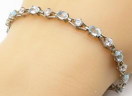 925 Silver - Vintage Prong Set Aquamarine & Topaz Chain Bracelet - B4714 - $42.15