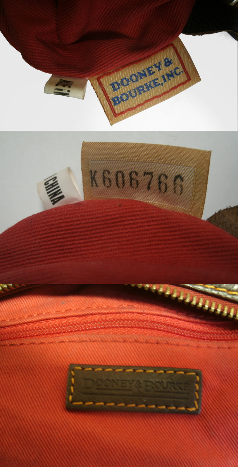 Dooney & Bourke Saddle Tan Brown Red Leather Pocket Hobo Brass Duck Charm DS455 image 12