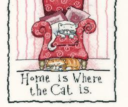 Home Is Where The Cat Is Cat's Rule 27ct Evenweave Kit Heritage Crafts