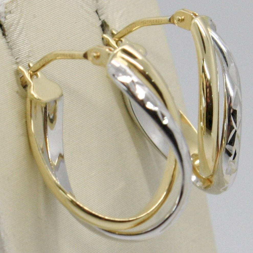 18K YELLOW WHITE GOLD PENDANT CIRCLE DOUBLE TUBE HOOPS ONDULATE WORKED EARRINGS