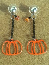Autumn Pumpkin Cutout Earrings hangs on Surgical Steel Posts and Backs H... - $15.00
