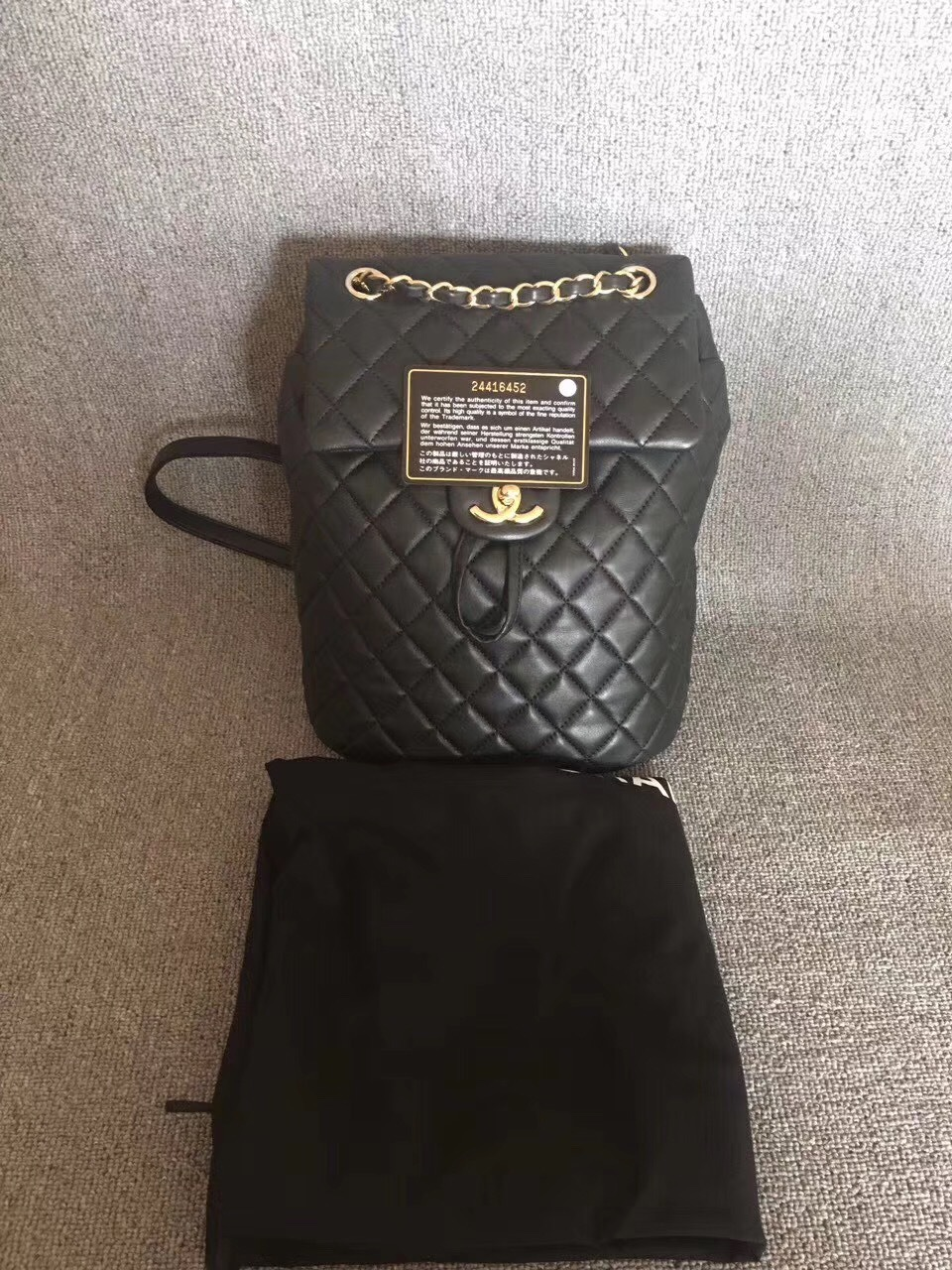 b7e48f82d54c 100% AUTHENTIC CHANEL 2017 BLACK LAMBSKIN URBAN SPIRIT BACKPACK GHW ...