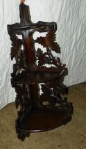 3 Tier Walnut Carved Corner Wall Shelf - $249.00