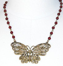 Dark Red Gold Tone Bead Beaded Butterfly Pendant Choker Necklace Vintage - $34.64