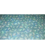 Blue Green Leaf Print Vinyl Upholstery Fabric  1 Yard - $19.95