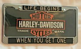 """Harley Davidson License Plate & Custom Frame (NOS) """"Life Begins When You Get One - $19.75"""