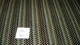 Brown Turquoise Beige Stripe Upholstery Fabric  1 Yard  R105 - $29.95