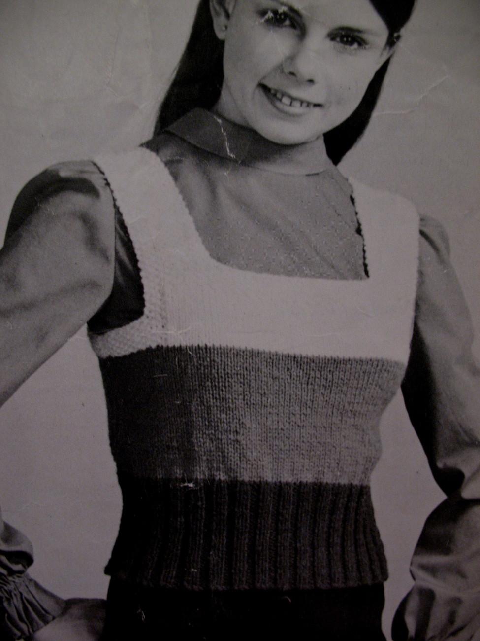 Vintage Round Neck Shrink Vest Pullover Knitting Pattern