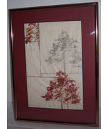 "Rare 1980's Hand Signed Steven Sidare Mixed Media ""Tree's""Art - $98.99"