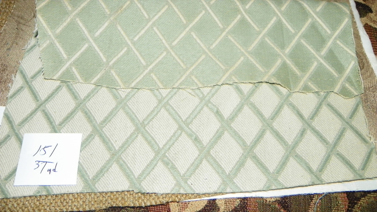 Green Beige Diamond Reversible Print Damask Upholstery Fabric 1 Yard  R151 - $19.95