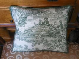 Green Cream Toille Print Pillow 15x12 - $24.95
