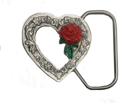 Vintage Small Heart and Rose Belt Buckle - Cut Out - Cowgirl - Girls - R... - $14.00