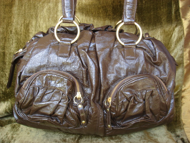 Bulga Misa Brown Patent Leather Satchel $765++