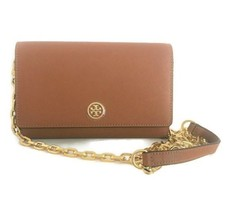 Tory Burch Robinson CHAIN WALLET Leather Crossbody Tiger's Eye Brown Han... - $229.95