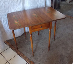 Mahogany Handpainted Dropleaf Table with Drawer by Imperial - $299.00