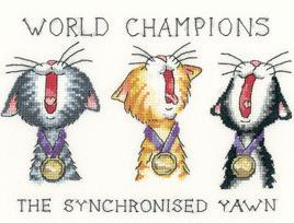 Synchronized Yawn Cat's Rule CHART ONLY cross stitch chart Heritage Crafts