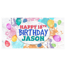 Balloons Happy Eighteen Birthday Banner Personalized 18 Party Decoration Back... - $22.28+