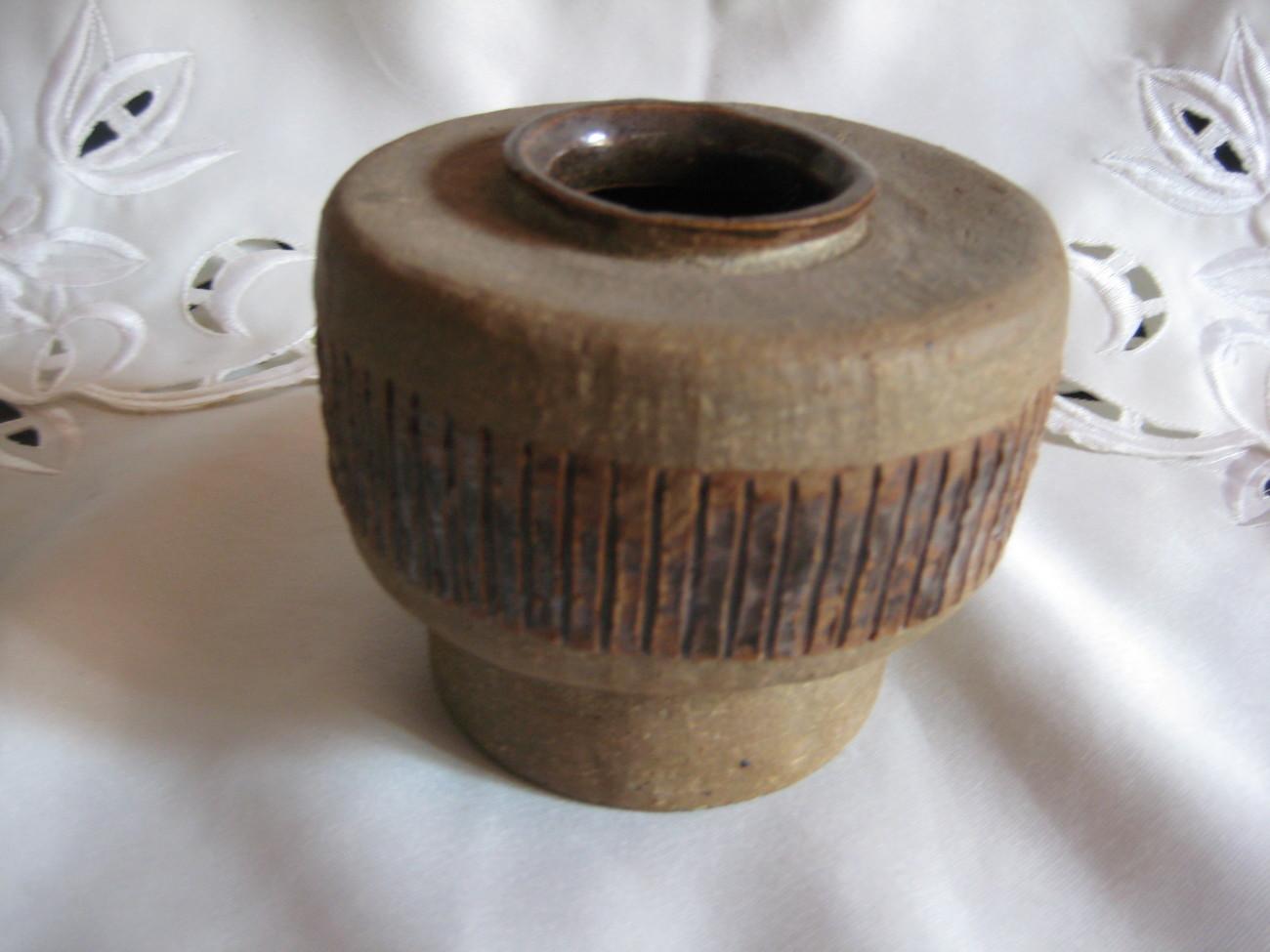 ceramic art vase brown handmade collectible piece