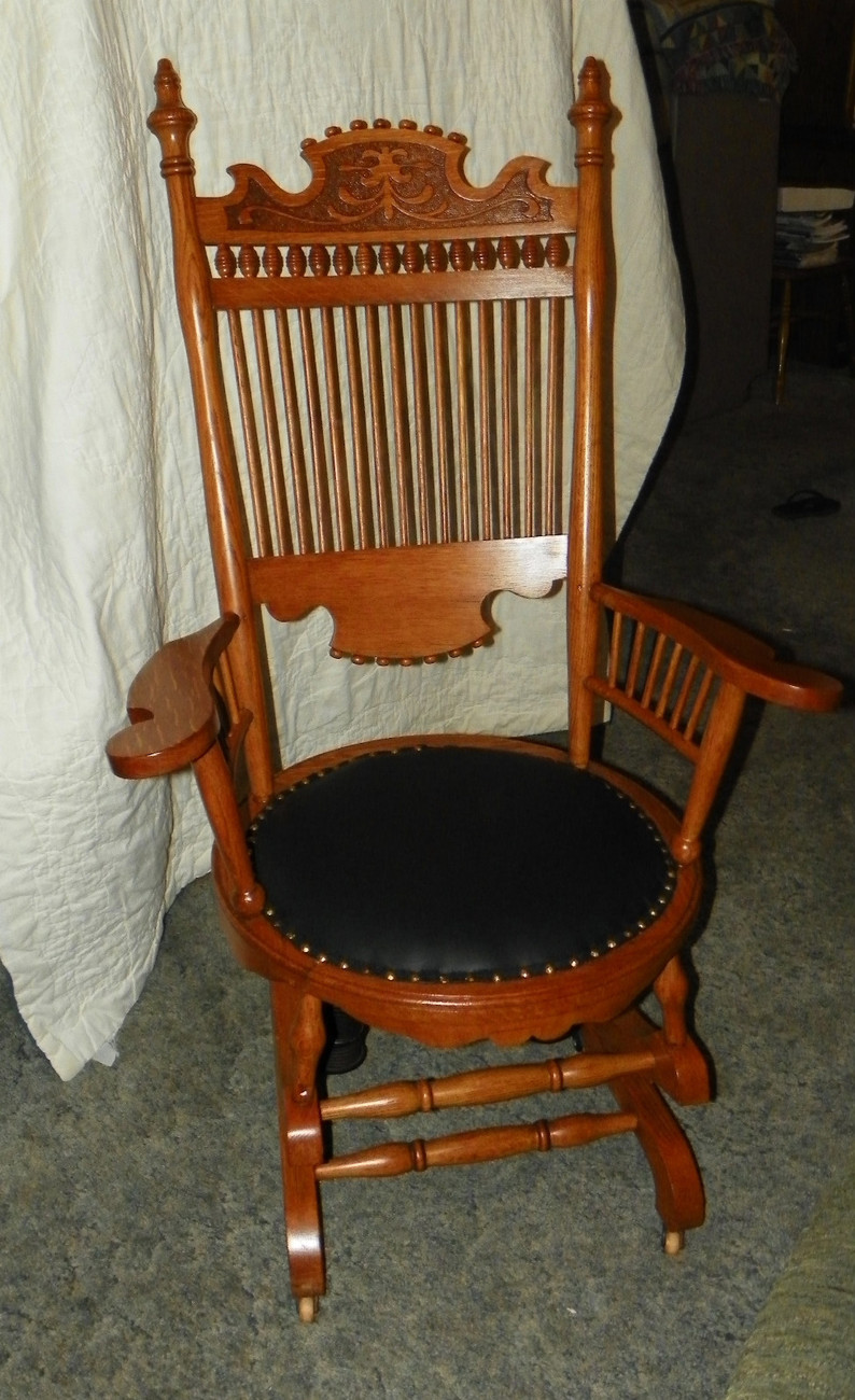 ... Spindle Back Rocker Rocking Chair with black leather seat - Post-1950