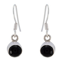 appealing Black Onyx 925 Sterling Silver Black Earring Natural indian US... - $20.99