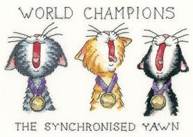 Synchronized Yawn Cat's Rule 27ct Evenweave Kit cross stitch Heritage Crafts
