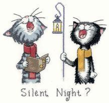 Silent Night Cat's Rule 27ct Evenweave Kit cross stitch Heritage Crafts