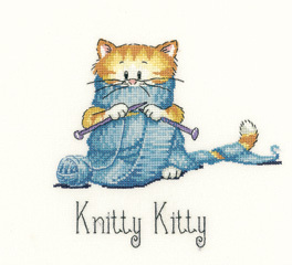 Knitty Kitty Cat's Rule 27ct Evenweave Kit cross stitch Heritage Crafts