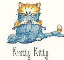 Knitty Kitty Cat's Rule CHART ONLY cross stitch chart Heritage Crafts
