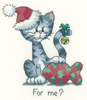 For Me? Cat's Rule 27ct Evenweave Kit cross stitch Heritage Crafts