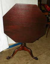Solid Mahogany Carved Chippendale Ball and ClawTilt Top Table  (mid 1800's) - $999.00